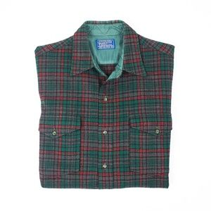 Vintage Pendleton 100% Wool Plaid Button Down